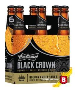 Este es el six pack de la Black Crown, la nueva cerveza de Budweiser