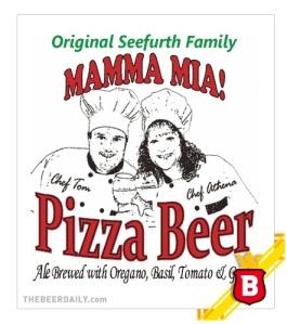 La etiqueta de la Mamma Mia Pizza Beer, con sus creadores: Tom y Athena Seefurth
