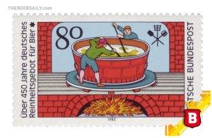Un sello postal de 1983 conmemorando el Reinheitsgebot