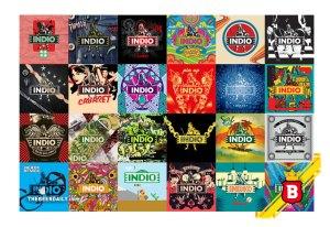 Parte de las 120 diferentes etiquetas conmemorativas de Indio